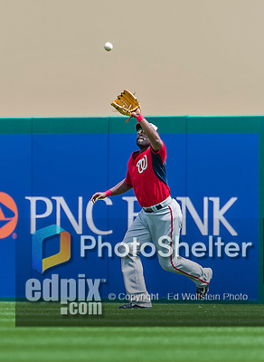 10 March 2015: Washington Nationals outfielder Tony Gwynn pulls in a fly ball during Spring Training action against the Miami Marlins at Roger Dean Stadium in Jupiter, Florida. The Marlins edged out the Nationals 2-1 on a walk-off solo home run in the 9th inning of Grapefruit League play. Mandatory Credit: Ed Wolfstein Photo *** RAW (NEF) Image File Available ***