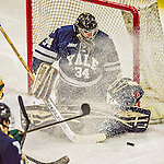 4 January 2014:  Yale University Bulldog goaltender Alex Lyon, a Freshman from Baudette, MN, makes a third period save against the University of Vermont Catamounts at Gutterson Fieldhouse in Burlington, Vermont. With an empty net and seconds remaining, the Cats came back to tie the game 3-3 against the 10th seeded Bulldogs. Mandatory Credit: Ed Wolfstein Photo *** RAW (NEF) Image File Available ***