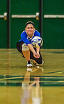 1 November 2015: Yeshiva University Maccabee Setter and Defensive Specialist Yael Ghelman, a Sophomore from Houston, TX, digs against the Saint Joseph College Bears at SUNY Old Westbury in Old Westbury, NY. The Bears shut out the Maccabees 3-0 in NCAA women's volleyball, Skyline Conference play. Mandatory Credit: Ed Wolfstein Photo *** RAW (NEF) Image File Available ***