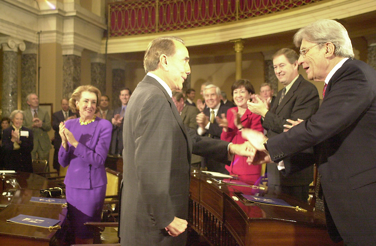 RC20000329-301-RR: March 28, 2000: Sen Dole greeting his former co-workers in the old sen. chamber..   Rebecca Roth/Roll Call.