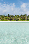 Baresdhoo Island, Laamu Atoll, Maldives; palm trees and white sand beaches along the shoreline of this tropical, remote island in the Indian Ocean