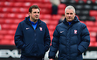 York City Assistant manager Darren Caskey and York City manager Gary Mills before kick off<br /> <br /> Photographer Andrew Vaughan/CameraSport<br /> <br /> Buildbase FA Trophy Semi Final Second Leg - Lincoln City v York City - Saturday 18th March 2017 - Sincil Bank - Lincoln<br />  <br /> World Copyright &copy; 2017 CameraSport. All rights reserved. 43 Linden Ave. Countesthorpe. Leicester. England. LE8 5PG - Tel: +44 (0) 116 277 4147 - admin@camerasport.com - www.camerasport.com