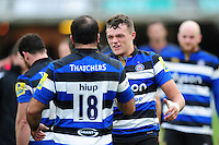 Zach Mercer of Bath Rugby celebrates after the match. Aviva Premiership match, between Bath Rugby and Saracens on December 3, 2016 at the Recreation Ground in Bath, England. Photo by: Patrick Khachfe / Onside Images