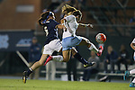 22 October 2015: North Carolina's Paige Nielsen (right) and Notre Dame's Sandra Yu (16). The University of North Carolina Tar Heels hosted the Notre Dame University Fighting Irish at Fetzer Field in Chapel Hill, NC in a 2015 NCAA Division I Women's Soccer game. UNC won the game 2-1.
