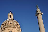 Roma.Chiesa del Santissimo Nome di Maria al Foro Traiano..Rome.Church of the Most Holy Name of Mary at the Trajan Forum.Colonna Traiana Trajan Column...