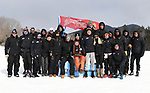 FRANCONIA, NH - MARCH 11:   Athletes and coaches of the University of Denver celebrate their teams third place finish  at the Division I Men's and Women's Skiing Championships held at Jackson Ski Touring on March 11, 2017 in Jackson, New Hampshire. (Photo by Gil Talbot/NCAA Photos via Getty Images)