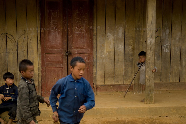 Children play in a minority village outside of Sapa, Vietnam.