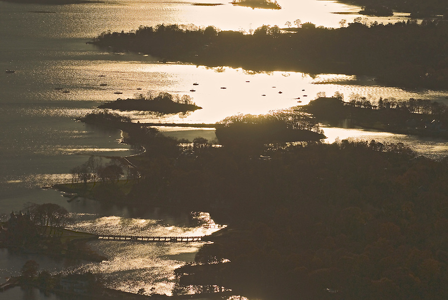 Connecticut, Fairfield County Shoreline, Aerial sunset
