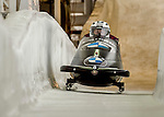 8 January 2016: Justin Kripps, piloting his 2-man bobsled for Canada, enters the Chicane straightaway on his second run, ending the day with a combined 2-run time of 1:51.30 and earning a 4th place finish at the BMW IBSF World Cup Championships at the Olympic Sports Track in Lake Placid, New York, USA. Mandatory Credit: Ed Wolfstein Photo *** RAW (NEF) Image File Available ***