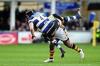 Luke Charteris of Bath Rugby is tackled by Ashley Johnson of Wasps. Aviva Premiership match, between Bath Rugby and Wasps on March 4, 2017 at the Recreation Ground in Bath, England. Photo by: Patrick Khachfe / Onside Images