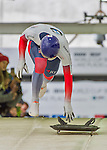 9 January 2016: Dominic Edward Parsons, competing for the United Kingdom, pushes off for his first run start of the BMW IBSF World Cup Skeleton race at the Olympic Sports Track in Lake Placid, New York, USA. Parsons ended the day with a combined 2-run time of 1:50.31 and a 7th place overall finish. Mandatory Credit: Ed Wolfstein Photo *** RAW (NEF) Image File Available ***
