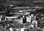 Pittsburgh PA:  Aerial View of Pitt Stadium, Presbyterian and Children Hospitals - the Oakland section of Pittsburgh - 1952. Project was for Ingham, Boyd and Pratt. They were one of the premier architects in Pittsburgh and did a lot of work for universities, hospitals and local school districts in the Pittsburgh area. The successor firm is IKM, Inc.