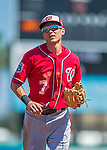 6 March 2016: Washington Nationals infielder Trea Turner returns to the dugout during a Spring Training pre-season game against the St. Louis Cardinals at Roger Dean Stadium in Jupiter, Florida. The Nationals defeated the Cardinals 5-2 in Grapefruit League play. Mandatory Credit: Ed Wolfstein Photo *** RAW (NEF) Image File Available ***
