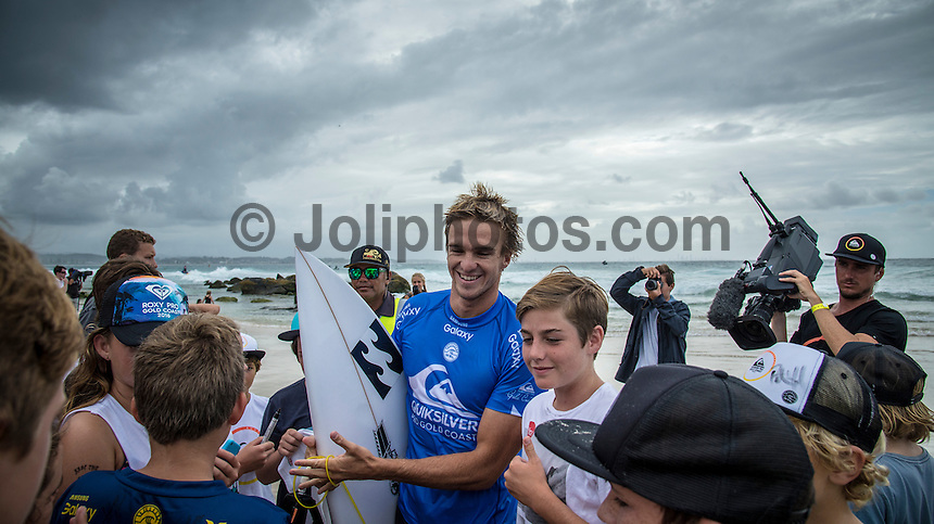 Snapper Rocks, Coolangatta Queensland Australia (Sunday, March 13 2016): Ryan Callinan (AUS) - Round Two of the first WCT event of the year, the Quiksilver Pro Gold Coast, was called on this morning with a number of top seeds hitting the water. In a day up upsets the Tour Rookies took out a good proportion of the heats with Stu Kennedy(AUS) defeating Kelly Slater (USA), Conner Coffin (USA) knowing out Kai Otton and Ryan Callinan  (AUS) eliminating Jordy Smith (ZAF) The event was put on hold for over 4 hours while organisers waited for conditions to improve. The surf was in the 3'-4' range most of the day.Photo: joliphotos.com