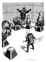 (Nikita Khrushchev as circus trainer tries to impose order on his bears as the disobedient Yugoslav bear runs away and tries to escape the cage)