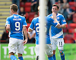 St Johnstone v Falkirk&hellip;23.07.16  McDiarmid Park, Perth. Betfred Cup<br />Danny Swanson celebarets scoring his first penalty with Liam Craig<br />Picture by Graeme Hart.<br />Copyright Perthshire Picture Agency<br />Tel: 01738 623350  Mobile: 07990 594431