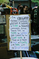 Greywater System sign at the Occupy Wall Street Protest in New York City October 6, 2011.
