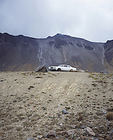 """Landscapes of tourism in Mexico. A car parked in the crater of the Nevado de Toluca volcano.  Toluca, Mexico. Exibited in the Salon Malafama as part of the """"Vacaciones"""" series, Mexico City July, 2006"""