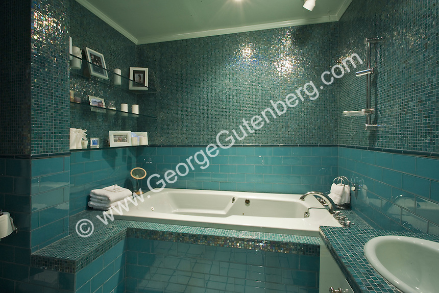 Beautiful Aqua and Teal tiled bath room