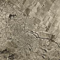 historical aerial photograph Petaluma California 1952