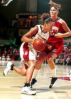 STANFORD, CA - FEBRUARY 24: Enjoli Izidor of the Stanford Cardinal during Stanford's 78-73 win over the Washington State Cougars on February 24, 2000 at Maples Pavilion in Stanford, California.
