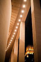 Jones Hall frames the art deco top of a building in Houston, Texas - 2013