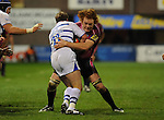 Paul Tito (Capt) stops Tom Cheeseman in his tracks. Cardiff Blues V Bath, EDF Energy Cup. &copy; Ian Cook IJC Photography iancook@ijcphotography.co.uk www.ijcphotography.co.uk
