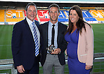 St Johnstone Player of the Year Awards 2014-15.....16.05.15<br /> Derek Peterson presents the SJFC Business Club Player of the Year Award to Chris MIllar<br /> Picture by Graeme Hart.<br /> Copyright Perthshire Picture Agency<br /> Tel: 01738 623350  Mobile: 07990 594431