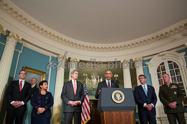 United States President Barack Obama makes a statement after meeting with his National Security Council at the State Department, February 25, 2016 in Washington, DC. The meeting focused on the situation with ISIS and Syria, along with other regional issues. Photo Credit: Drew Angerer/CNP/AdMedia