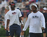 Ole Miss assistant coach Derrick Nix during a team scrimmage at Vaught-Hemingway Stadium in Oxford, Miss. on Saturday, August 20, 2011.