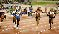 Kerron Stewart winning the 100m in a time of 10.96sec. over Marashevet Hooker 11.01sec. and Bianca Knight 11.11sec. at the Jamaica International Invitational Meet on Saturday, May 3rd. 2008. Photo by Errol Anderson, The Sporting Image.
