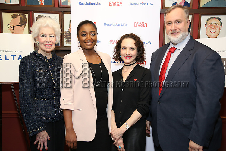 Jano Herbosch, Patina Miller, Bebe Neuwirth and Gabriel Shanks attend the 2017 Drama League Award Nominees Announcements at Sardi's on April 19, 2017 in New York City.