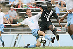 31 August 2008: UNC's Garry Lewis (8) commits a foul on VCU's Owusu Sekyere (GHA) (11). The University of North Carolina Tar Heels defeated the Virginia Commonwealth University Rams 1-0 in overtime at Fetzer Field in Chapel Hill, North Carolina in an NCAA Division I Men's college soccer game.
