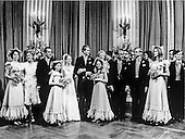 Washington, DC - June 12, 1971 -- Formal wedding party photo taken in the East Room of the White House in Washington, D.C. on Saturday, June 12, 1971.  From left to right: Julie Nixon Eisenhower, sister; first lady Pat Nixon; United States President Richard M. Nixon; unidentified; Tricia Nixon Cox; Edward Cox; unidentified; Mrs. Cox; Edward Cox, Sr.; unidentified Best Man; and unidentified Matron of Honor..Credit: Pool via CNP