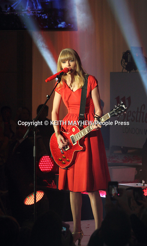 London - Taylor Swift switches on the Christmas lights at Westfield Shopping Centre, Shepherds Bush, London - November 6th 2012..Photo by Keith Mayhew