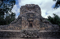 Structure XX at the Mayan ruins of Chicanna, Campeche , Mexico. This two-storey temple is an example of Rio Bec style Mayan architecture.