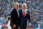 07 December 2014: Los Angeles Galaxy owner Philip F. Anschutz (left) and New England Revolution owner Robert Kraft (right) share a moment before the game. The Los Angeles Galaxy played the New England Revolution in Carson, California in MLS Cup 2014. Los Angeles won 2-1 in overtime.