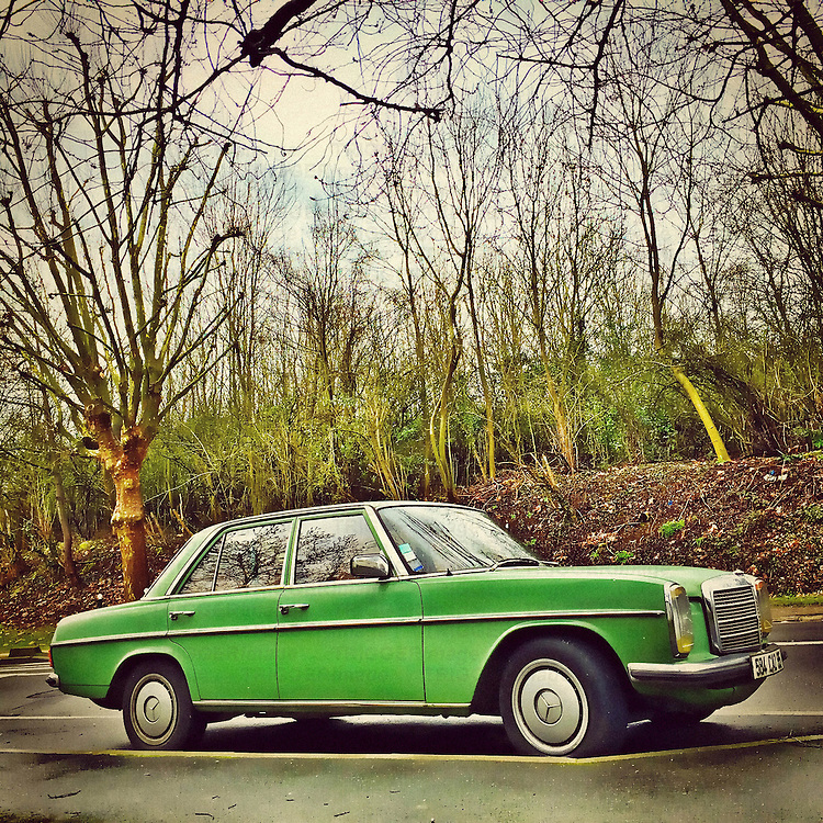 Retro  car transport in green