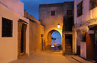 The Bab Saida gate in the medina or old town of Tetouan, on the slopes of Jbel Dersa in the Rif Mountains of Northern Morocco. Tetouan was of particular importance in the Islamic period from the 8th century, when it served as the main point of contact between Morocco and Andalusia. After the Reconquest, the town was rebuilt by Andalusian refugees who had been expelled by the Spanish. The medina of Tetouan dates to the 16th century and was declared a UNESCO World Heritage Site in 1997. Picture by Manuel Cohen