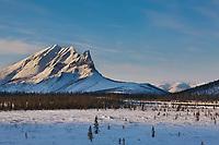 Mount Sukakpak, and the Trans Alaska pipeline, Brooks range, arctic, Alaska.