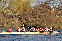 051 .KGS-Russell .J18A.8+ .Kingston G Sch. Wallingford Head of the River. Sunday 27 November 2011. 4250 metres upstream on the Thames from Moulsford railway bridge to Oxford Universitiy's Fleming Boathouse in Wallingford. Event run by Wallingford Rowing Club..