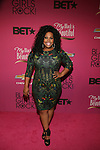"""Glee Actress Amber Riley Wearing a Rachel Roy dress Attends """"BLACK GIRLS ROCK!"""" Honoring legendary singer Patti Labelle (Living Legend Award), hip-hop pioneer Queen Latifah (Rock Star Award), esteemed writer and producer Mara Brock Akil (Shot Caller Award), tennis icon and entrepreneur Venus Williams (Star Power Award celebrated by Chevy), community organizer Ameena Matthews (Community Activist Award), ground-breaking ballet dancer Misty Copeland (Young, Gifted & Black Award), and children's rights activist Marian Wright Edelman (Social Humanitarian Award) Hosted By Tracee Ellis Ross and Regina King Held at NJ PAC, NJ"""