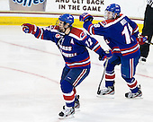 Josh Holmstrom (UML - 12), A.J. White (UML - 18) - The Boston College Eagles defeated the visiting University of Massachusetts Lowell River Hawks 6-3 on Sunday, October 28, 2012, at Kelley Rink in Conte Forum in Chestnut Hill, Massachusetts.