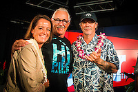 North Shore, Oahu, Hawaii (Wednesday, December 11, 2013,) Jodi Wilmott (UAS), Peter 'Joli' Wilson (AUS) nad Wyland (HAW).  <br /> Nainoa Thompson &ndash; native Hawaiian navigator of Hawai&lsquo;i&rsquo;s traditional double-hull sailing canoe Hokule&lsquo;a, and President of the Polynesian Voyaging Society &ndash; is a living conduit of Hawaiian culture and traditional wayfinding skills. He spoke for over an hour before being joined on the stage by members of the crew for the three year around the world voyage. They were interviewed by host Jodi Wilmott (AUS) . Photo: joliphotos.com