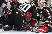Luke Esposito (Harvard - 9), Dennis Robertson (Brown - 20), Kyle Criscuolo (Harvard - 11), Tyler Steel (Brown - 35) - The visiting Brown University Bears defeated the Harvard University Crimson 2-0 on Saturday, February 22, 2014 at the Bright-Landry Hockey Center in Cambridge, Massachusetts.