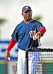 15 March 2009: Washington Nationals' coach Jose Martinez throws batting practice prior to a Spring Training game against the Detroit Tigers at Space Coast Stadium in Viera, Florida. The Tigers shut out the Nationals 3-0 in the Grapefruit League matchup. Mandatory Photo Credit: Ed Wolfstein Photo