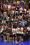 27 APR 2014: Springfield College huddles during a time out against Juniata College during the Division III Men's Volleyball Championship held at the Kennedy Sports Center in Huntingdon, PA. Springfield defeated Juniata 3-0 to win the national title.  Mark Selders/NCAA Photos