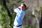 KANNAPOLIS, NC - APRIL 09: North Carolina's William Register tees off on the 11th hole. The third round of the Irish Creek Intercollegiate Men's Golf Tournament was held on April 9, 2017, at the The Club at Irish Creek in Kannapolis, NC.
