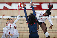 STANFORD, CA - October 14, 2016: Kelsey Humphreys,Tami Alade at Maples Pavilion. The Arizona Wildcats defeated the Cardinal 3-1.
