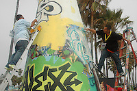 Graffiti artists Sober, 19, and Draw, 19,  paint the chimney at Venice Beach during the Paintout Festival on Sunday, June 3, 2007. The day-long event was geared toward joining the artistic community and Venice Beach residents in a cooperative effort to encourage creativity and support the Public Arts Walls